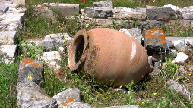 ancient greek urn on delos, greece - decorative urn stock videos and b-roll footage