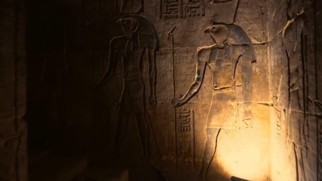 ancient hieroglyphics of edfu temple in luxor. egypt - national landmark stock videos & royalty-free footage