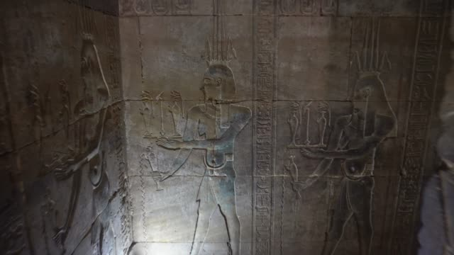 ancient hieroglyphics of edfu temple in luxor. egypt - museum stock videos & royalty-free footage