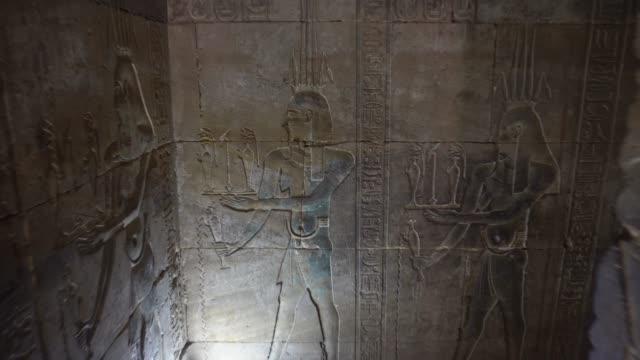 ancient hieroglyphics of edfu temple in luxor. egypt - egypt stock videos & royalty-free footage