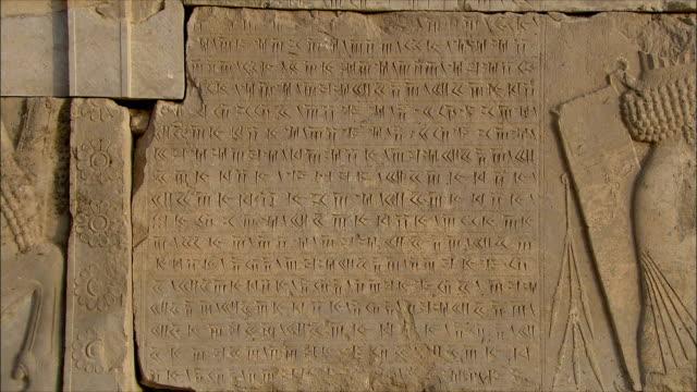 ms zi ancient inscription in stone, persepolis, iran - persepoli video stock e b–roll