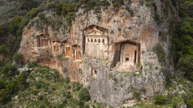 ancient lycian rock tombs of dalyan, mugla, turkey - ancient greece stock videos & royalty-free footage