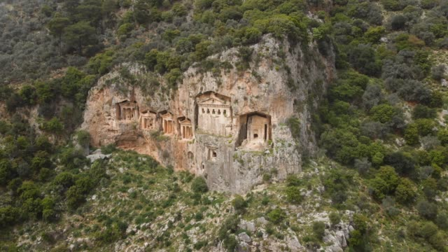 ancient lycian rock tombs of dalyan, mugla, turkey - ruined stock videos & royalty-free footage