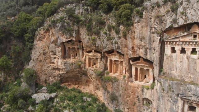 ancient lycian rock tombs of dalyan, mugla, turkey - dalyan stock videos and b-roll footage
