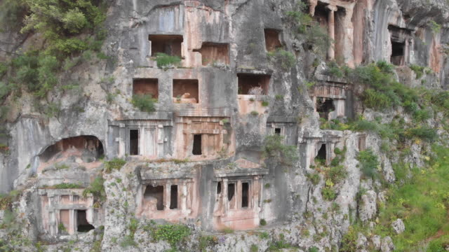 ancient lycian rock tombs of fethiye, mugla, turke - fethiye stock videos and b-roll footage