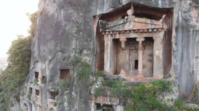 ancient lycian rock tombs of fethiye, mugla, turkey - fethiye stock videos and b-roll footage