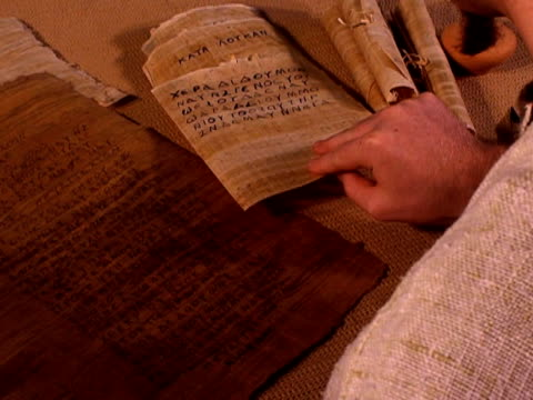 Ancient manuscript checked by scribe
