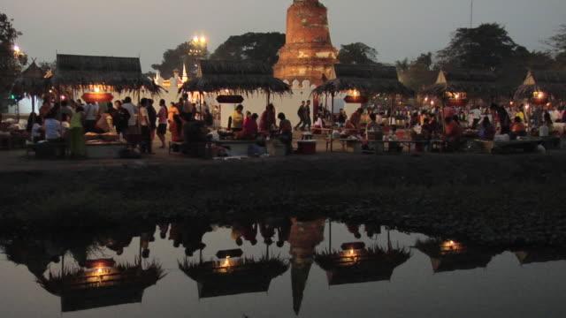 ws tu ancient market at wat langkhakhao / ayutthaya, thailand - アユタヤ県点の映像素材/bロール