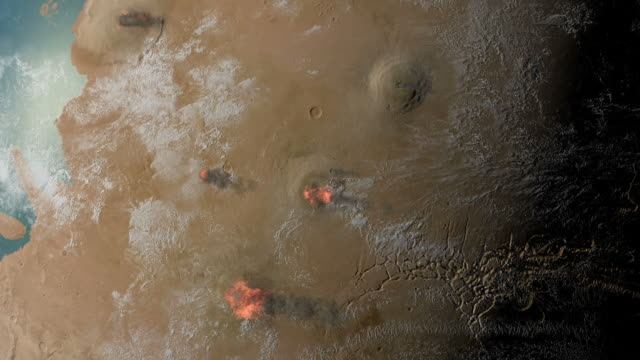 Ancient Mars. Active Tharsis ridge and Olympus Mons volcanoes on Mars, at a time when liquid water existed on the surface