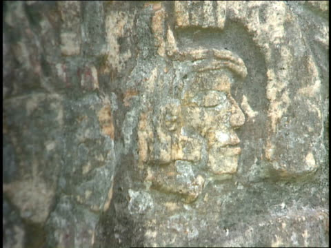 ancient mayan carvings decorate a stone. - mayan stock videos & royalty-free footage