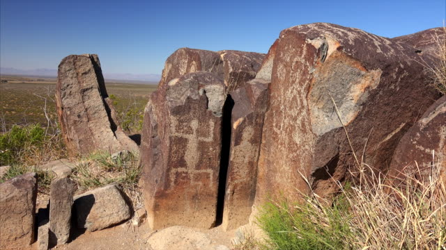 ancient petroglyphs at three rivers petroglyph site in new mexico, usa. - cave painting stock videos & royalty-free footage