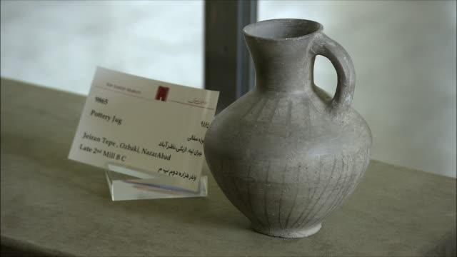 CU Ancient pottery jug in National Museum of Iran, Tehran, Iran