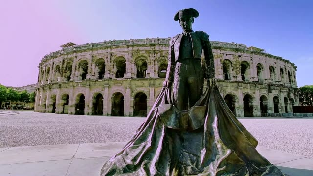 ancient roman arenes in nîmes - amphitheatre stock videos & royalty-free footage