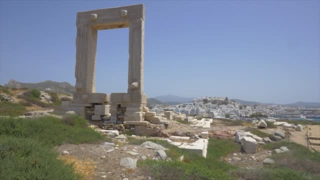 ancient ruins of the apollo temple, traveling in naxos, greece, europe. - naxos greek islands stock videos & royalty-free footage