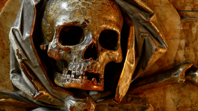 ancient scull sculpture close-up tilt up - 18th century stock videos and b-roll footage