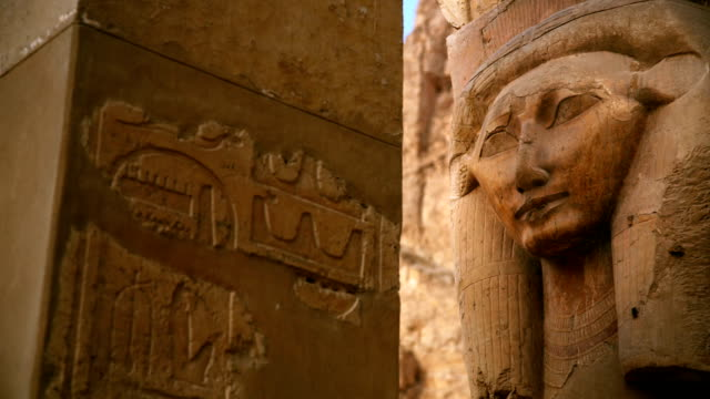 ancient sculpture of hatshepsut from hatshepsut's temple egypt - valley of the kings stock videos & royalty-free footage