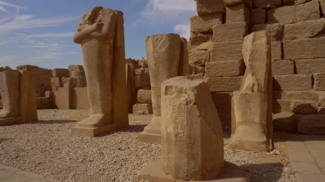 ancient sculptures of karnak temple in luxor. egypt - famous place stock videos & royalty-free footage