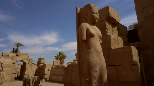 ancient sculptures of karnak temple in luxor. egypt - old ruin stock videos & royalty-free footage