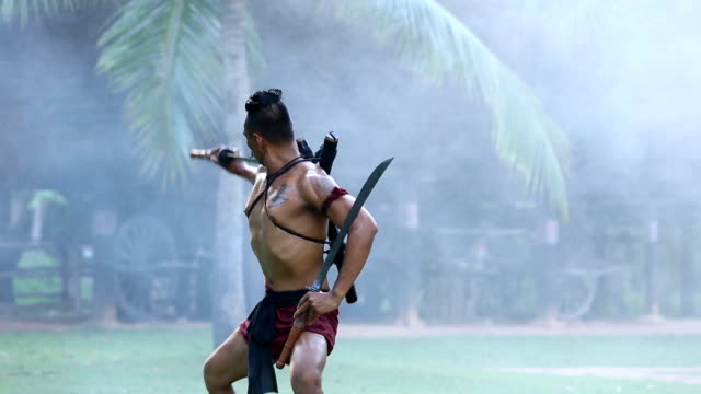 ancient thai warrior - warrior person stock videos & royalty-free footage