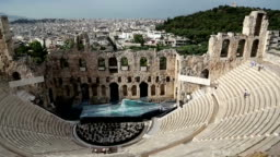 Ancient theatre near Parthenon temple, Athenian Acropolis, Greece