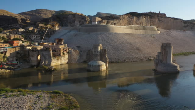 ancient town of hasankeyf is seen by the tigris river, which will be significantly submerged by the ilisu dam on october 01, 2019 in hasankeyf,... - other stock videos & royalty-free footage