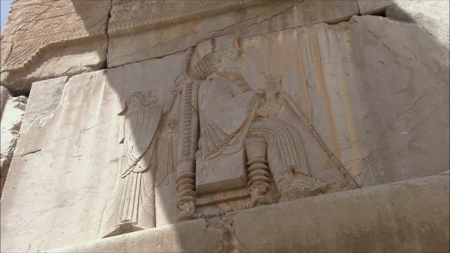 cu la zi ancient wall with bas relief, persepolis, iran - bas relief stock videos & royalty-free footage