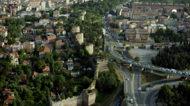 ancient walls of constantinople in istanbul - istanbul stock videos & royalty-free footage