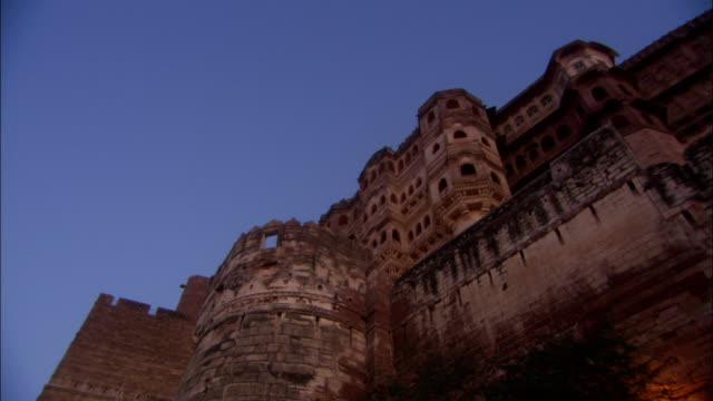 Ancient walls of fortified Jaipur Palace Rajasthan Available in HD.