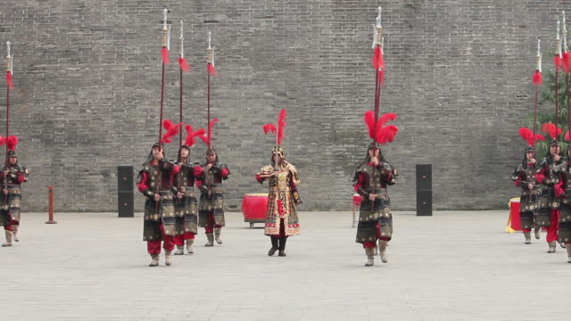 ls ancient warrior with uniforms in city wall/xian,shaanxi,china - ancient stock videos & royalty-free footage