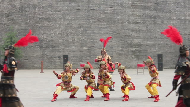 ms ancient warrior with uniforms in city wall/xian,shaanxi,china - 要塞点の映像素材/bロール