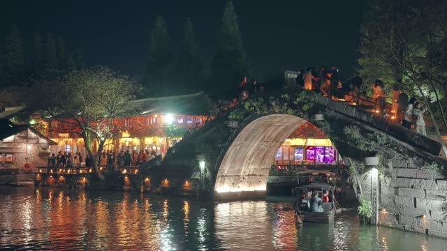 ancient water town of wuzhen,china. - canal stock videos & royalty-free footage