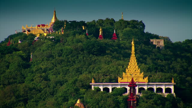 gv and aerial of mandalay, burma - pagoda stock videos & royalty-free footage