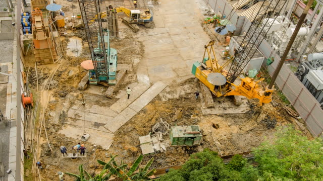 tl and aerial view : preparation of  foundation pile - pile driver stock videos and b-roll footage
