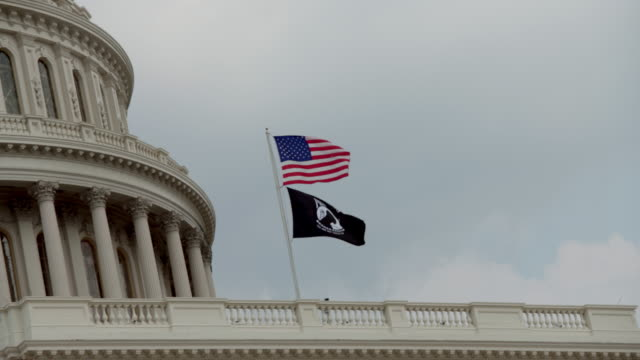 POW MIA and American Flags at the U.S. Capitol Building in Washington, DC - in 4k/UHD