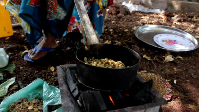 and arranging coal ethiopian woman roasting coffee grains for coffee ceremony on august 07, 2011 in logia, ethiopia - ethiopia stock videos & royalty-free footage