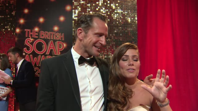 and broll - hollyoaks actors jeremy sheffield and nikki sanderson talking about their on-screen relationship and getting ready for this event also... - nomination stock videos & royalty-free footage