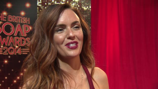 and broll - hollyoaks actress jennifer metcalfe talks about her character as she attends the british soap awards at hackney empire on may 24, 2014 in... - seifenoper stock-videos und b-roll-filmmaterial