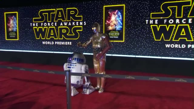 D2 and C3PO at Star Wars Movie Premiere on December 14 2015
