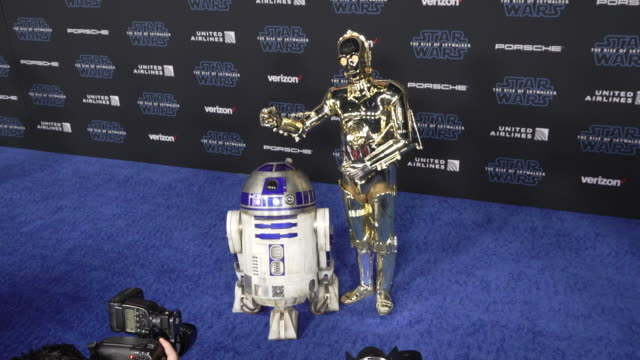 r2d2 and c3po at the premiere of disney's star wars the rise of skywalker on december 16 2019 in hollywood california - star wars stock videos & royalty-free footage