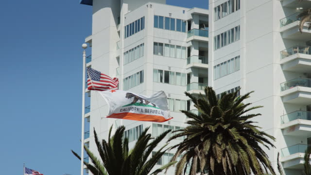 us and california flags flying by beachfront apartments - santa monica street stock videos & royalty-free footage