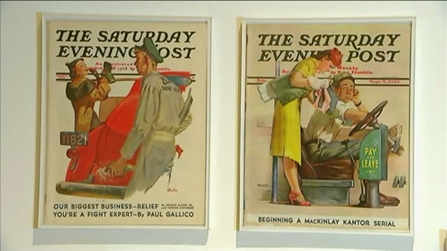 1950s advert illustrator mac conner interview; int **music heard sot** framed 'the saturday evening post' illustrations - illustrator stock videos & royalty-free footage