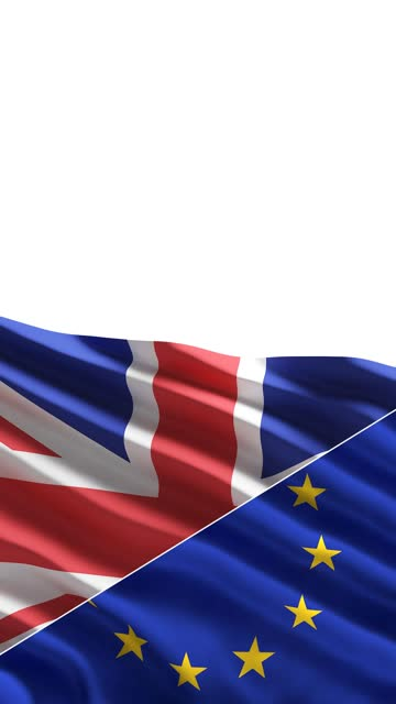 uk and eu flag in the wind isolated on white background concept with copy space - british military stock videos & royalty-free footage