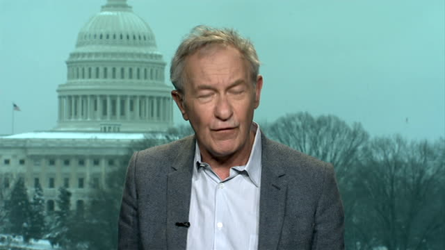 us and eu impose sanctions on russia after crimea vote england london gir int simon schama 2way interview from washington sot - 制裁点の映像素材/bロール