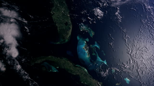 USA and Florida zooming out to space