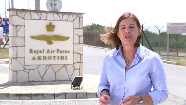usa uk and france launch military strikes against syria in response to douma chemical attack raf akrotiri reporter to camera - military attack stock videos and b-roll footage
