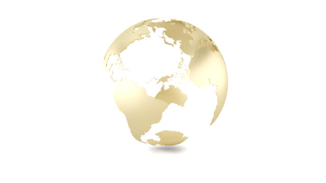 3d and hd golden earth's loop animation - 3d animation stock videos & royalty-free footage