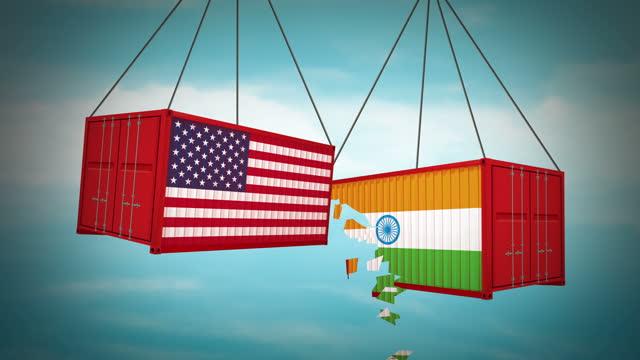 アメリカとインドの貿易戦争 - 関税点の映像素材/bロール