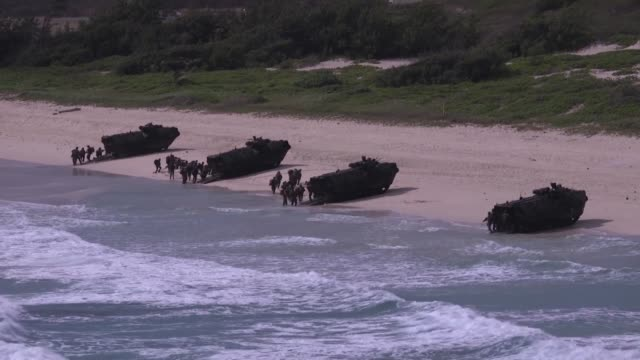 and international forces together with marine air ground task force unload from assault amphibious vehicles on pyramid rock beach, marine corps base... - pacific war stock-videos und b-roll-filmmaterial
