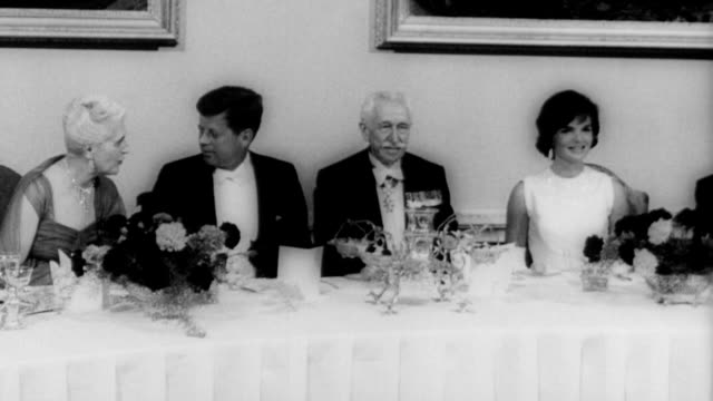 and jackie kennedy exit airplane, shake hands with governor george vanier and prime minister, john george diefenbaker / cheering crowd of children... - state dinner stock videos & royalty-free footage