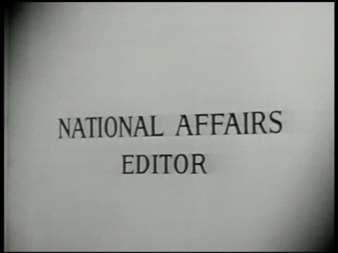 and life editor: ext two men entering building . int sign 'national affairs editor.' editor otto fuerbringer at desk w/ assistant. fuerbringer... - reading glasses stock videos & royalty-free footage